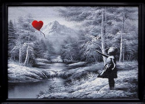 BANKSY - balloon girl framed canvas effect canvas print - self adhesive poster - photo print